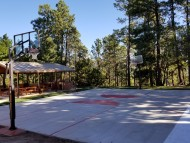 Ponderosa exterior baskeball court and gazabo